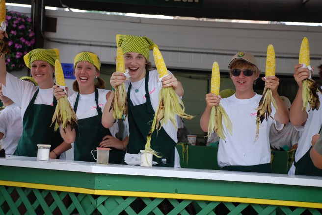 Corn Roast booth at the Minnesota State Fair - You can request corn without butter for a gluten-free, dairy-free, vegan food option.