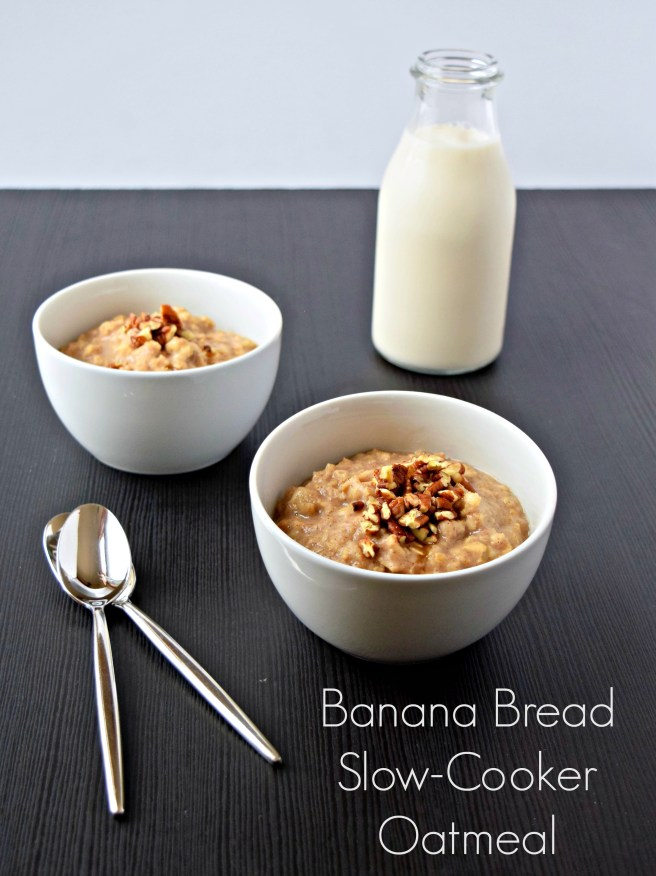 Banana Bread Slow-Cooker Oatmeal | This simple recipe for slow-cooker oatmeal is perfect for making a big batch to eat throughout the week. It's a healthy mid-morning snack or breakfast and tastes delicious eaten hot or cold.