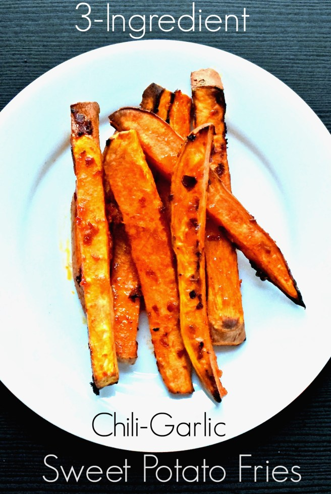 3-Ingredient Chili-Garlic Sweet Potato Fries recipe | These super simple sweet potato fries are a healthier and satisfying alternative to French fries for an easy weeknight side dish.