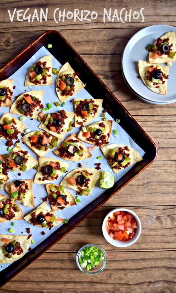 Vegan Chorizo Nachos recipe with spicy Pepper Jack cheese sauce and all the best toppings!