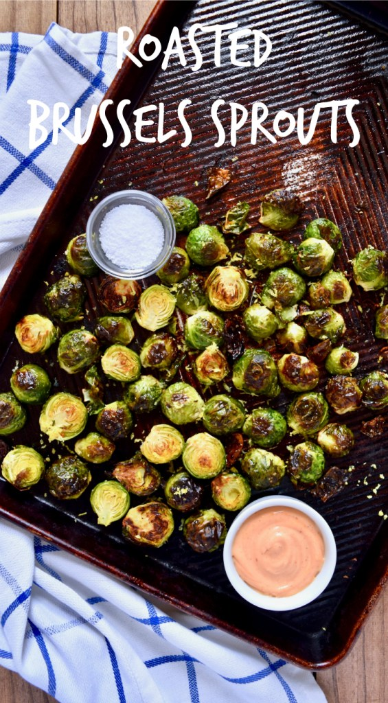 Roasted Brussels Sprouts recipe - The perfect gluten-free, vegan side dish for dinner! I highly recommend serving with honey-sriracha aioli.