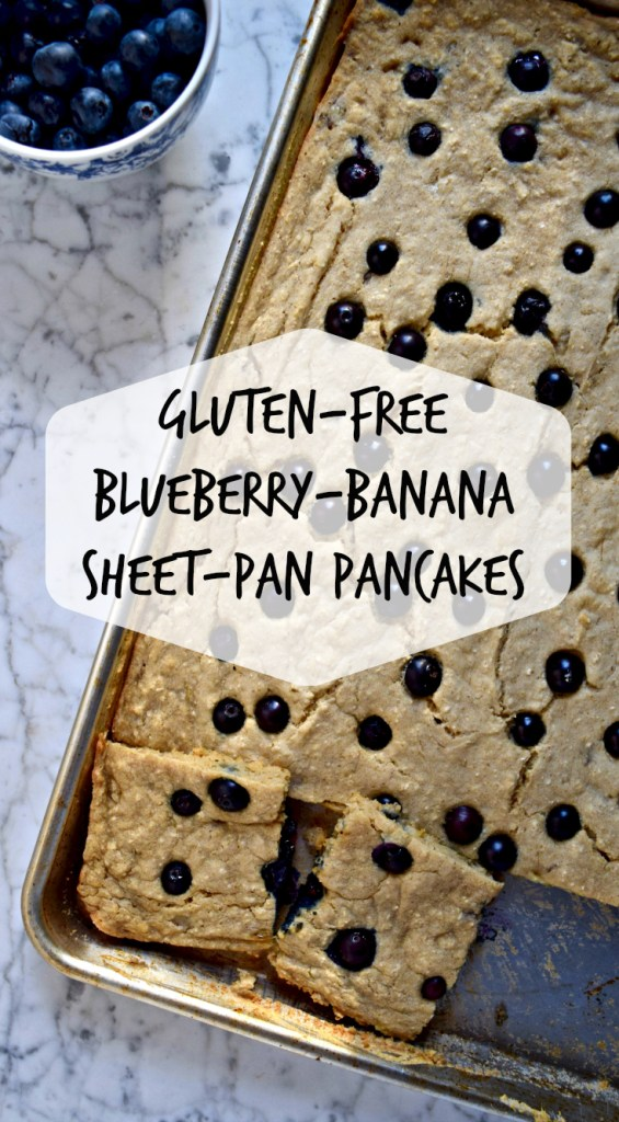 Blueberry-Banana Gluten Free Sheet Pan Pancakes | These fluffy, delicious gluten free sheet pan pancakes are perfect for when you're hosting brunch and need everything to be warm at the same time. They reheat very well, so it's also a great option for make-ahead breakfasts during the week.