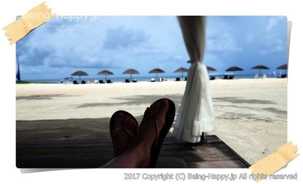 ビーチで寛いだ思い出の写真