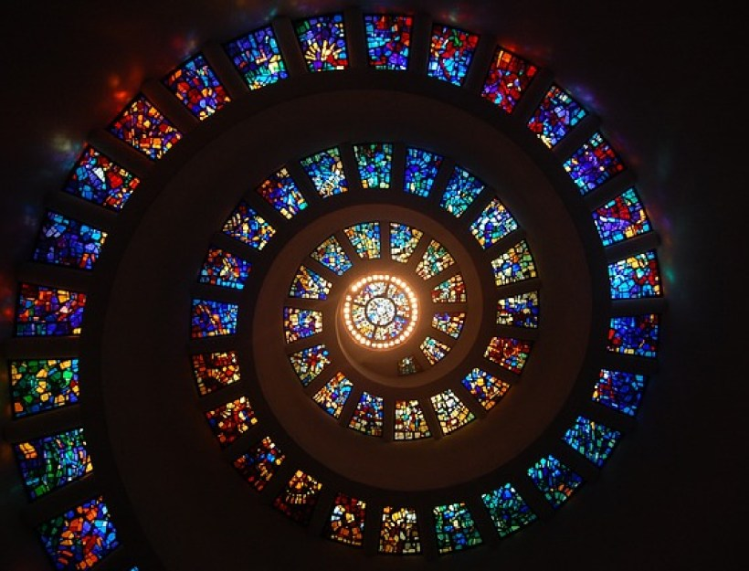 Stained Glass Spiral With Center Light
