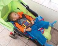 Nephew E napping in his pram
