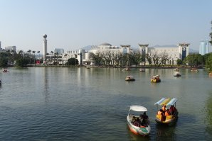 View overlooking the West Lake with Fuiian Museum in the distance