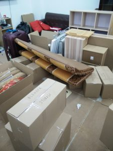 Stuff packed up in boxes in Putian ready for move