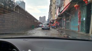 Rain in Putian, China from car windscreen