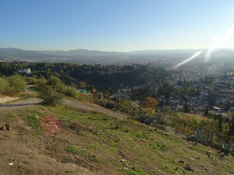 You can see the valley, some of the The Albaicín hill and the the Albaicín quarter in this picture