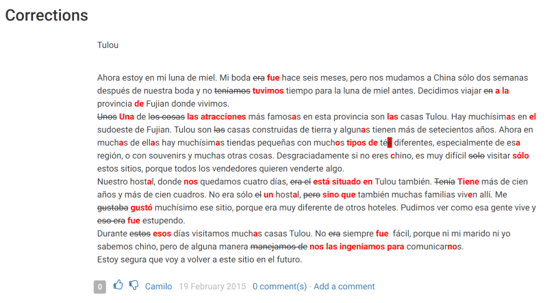 Some Spanish text with corrections offered by italki users in red