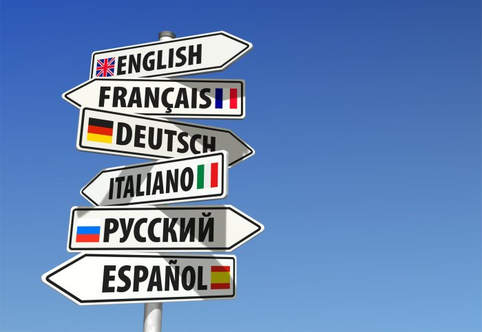 Signpost pointing in different directions to: English, Francais, Deutsch, Italiano, and  Espanol.