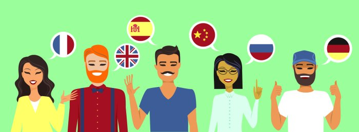 Clipart of different nationalities with flags  as speech bubbles representing the languages they speak.