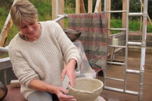 Wilma Allan coiling with clay
