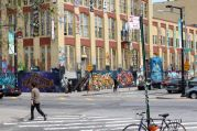 The grafitied 5 Pointz, across from PS1