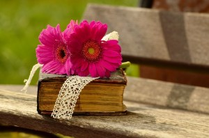 redeemed: Bible with flowers