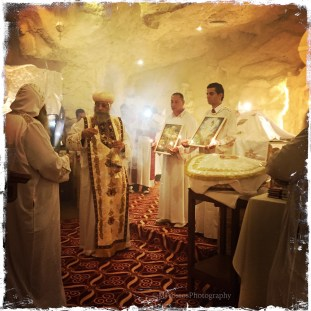 Coptic Orthodox Pope Tawadros II praying a liturgy.