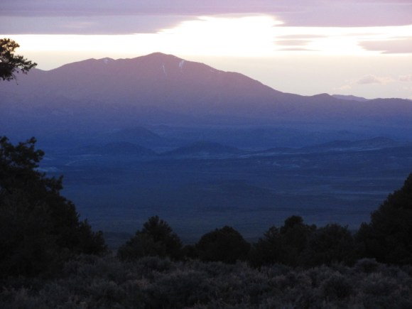 Looking west from the Desatoya mountiains. The low lying hills in the basin between the two ranges are probably cindercones.