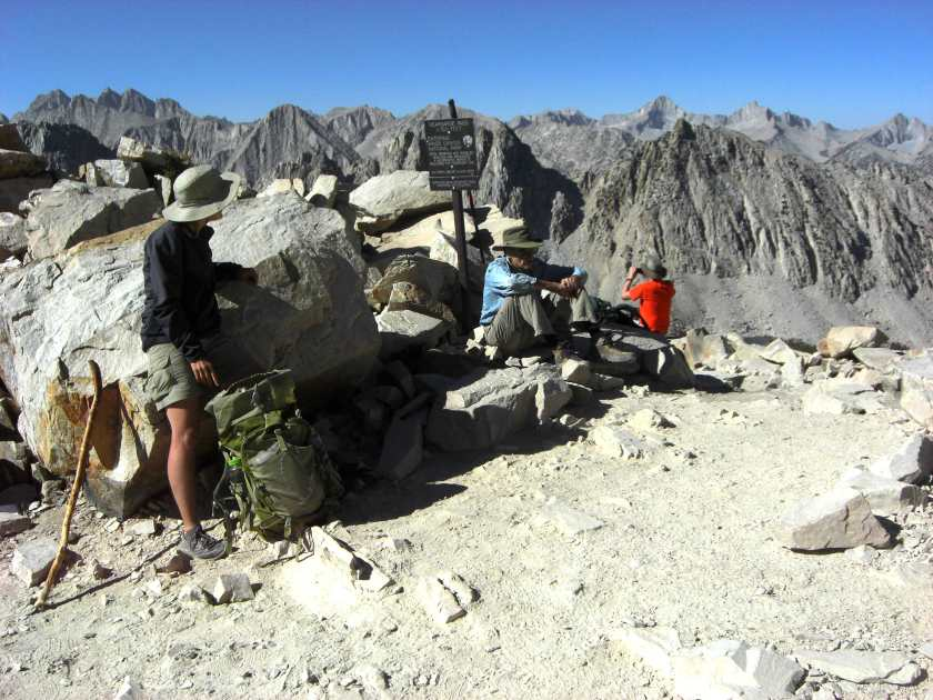 Arriving at Kearsarge Pass; Nastassja getting out her collection gear.