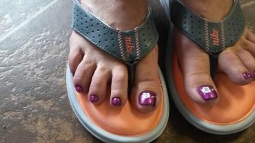 Gel pedicure. Purple with white nail art. By: MarTika