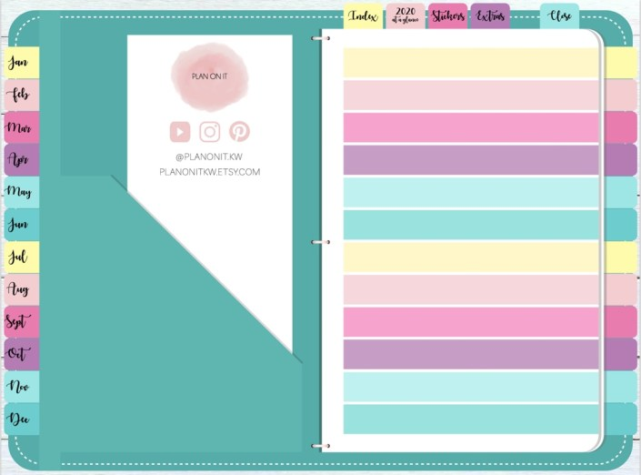 Plan on it planner has a colourful index page to help you track what you have in the different sections in the planner