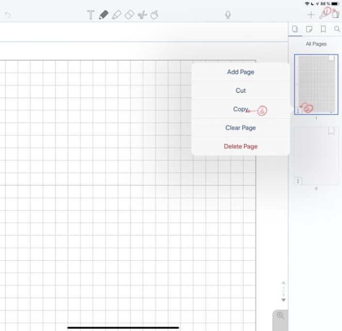 Copying a page with a custom template you want to use in Notability