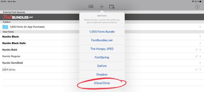 Adding custom font in AnyFont that is already saved to iCloud Drive