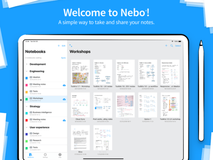 Screenshot showing the homepage in Nebo. On the left, it shows Notebooks. These are folders that contain Pages (where you can then write your notes.