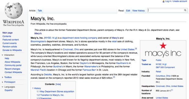 Macys Wikipedia Page