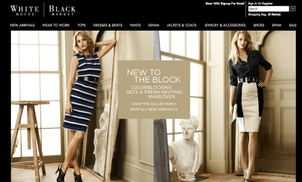 white house black market website and brand strategy