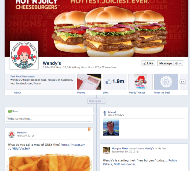 Wendy's Facebook Page Timeline Format