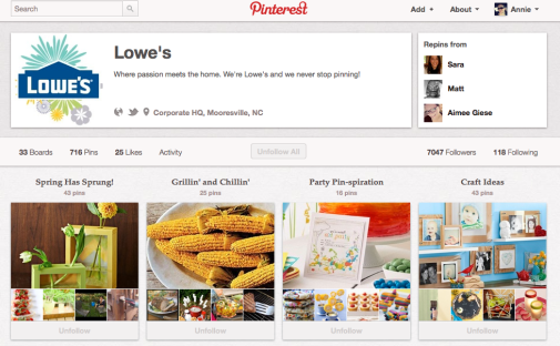 Lowes Pinterest Profile