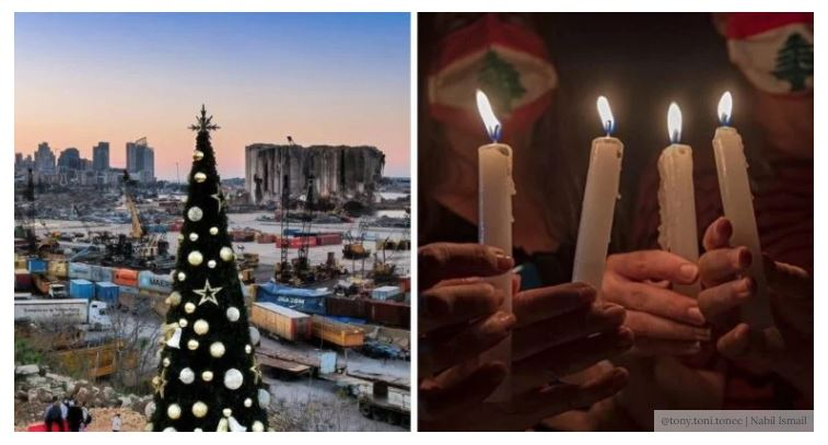 Lebanon Lit A Christmas Tree Facing The Beirut Port In Remembrance Of The Victims