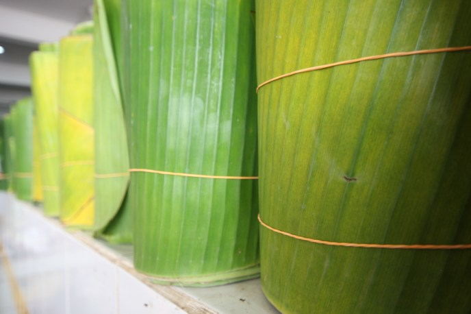 banana leaves, malacca market