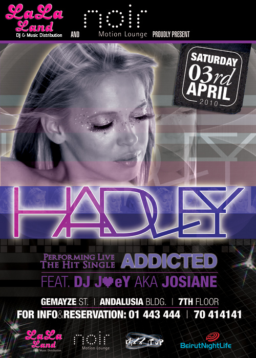 """""""HADLEY"""", one of the world's Sexiest Progressive Vocalists, Live at NOIR"""