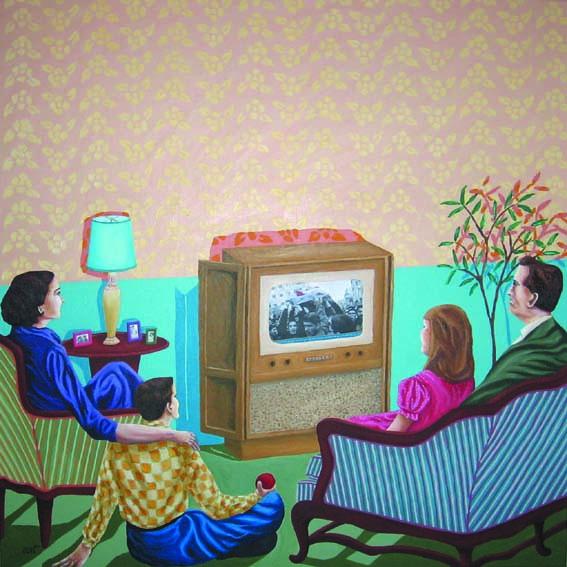 Rim El Jundi, TV time, 2011, acrylic on canvas, 100 x 100 cm, Galerie Janine Rubeiz