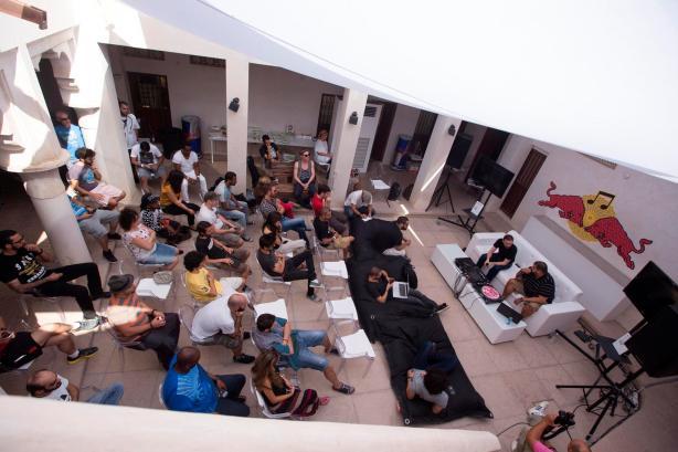 Spectators at the RedBull Music Academy Basecamp Dubai , United Arab Emirates September 27, 2013
