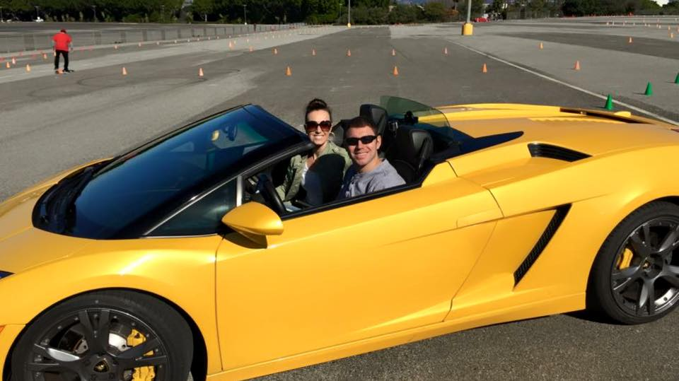 Tim taking a Lambo out for a spin on the track