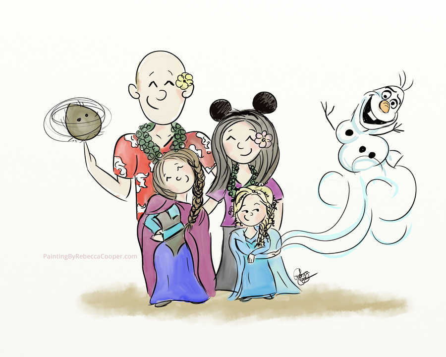 Hawaiian-Disney Theme Family Portrait Illustration