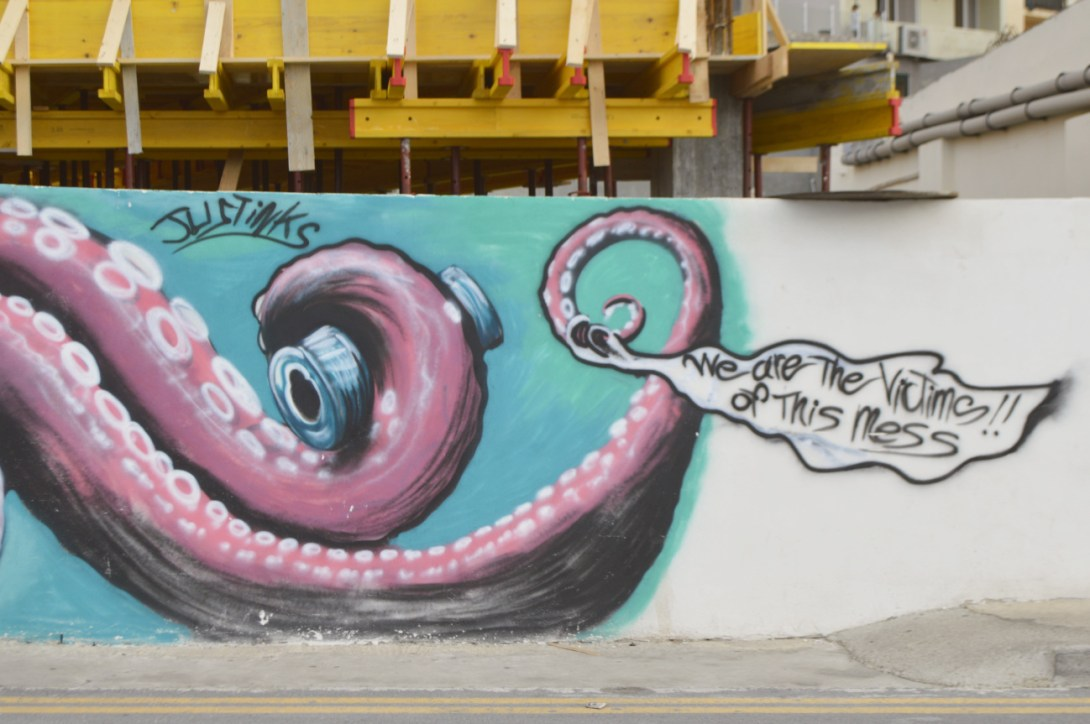 Street art in Malta Bugibba mural grafitti justinks be kitschig blog octopus
