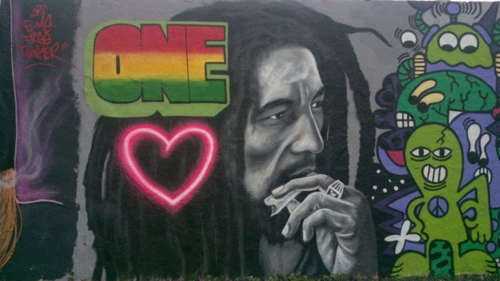 One Love Bob Marley by eme freethinker Mauerpark Berlin street art postcards from Berlin #18 bekitschig.blog