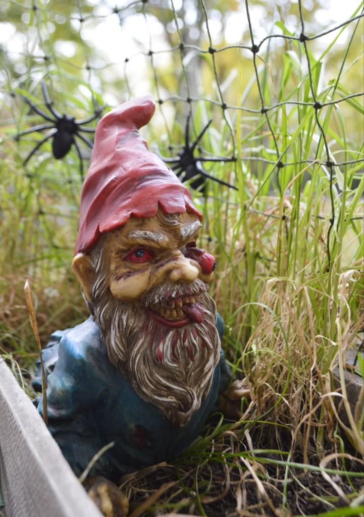 Zombie Gnome Halloween decoration balcony