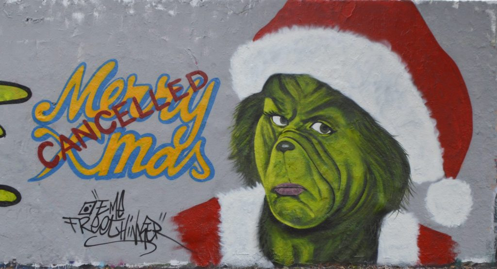 street art Grinch Christmas cancelled