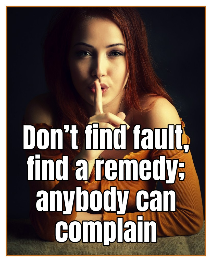 Don't find fault, find a remedy; anybody can complain Henry Ford Quote bekitschig blog