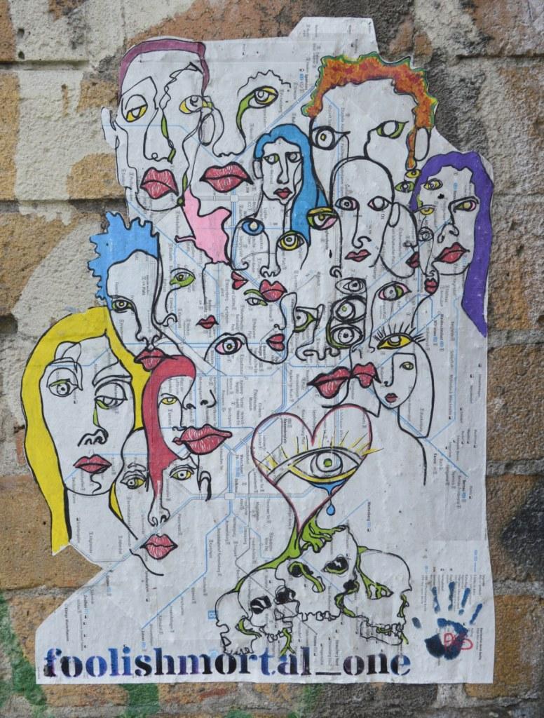 paste up by foollish mortal one street art Berlin  bekitschig.blog street art Berlin