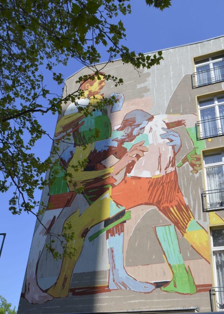 Wrestlers by Mr. Aryz - Mitte - Berlin Mural Fest 2019 -  bekitschig.blog