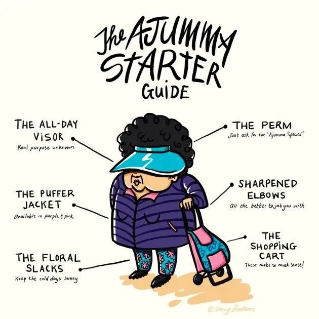 The lady wearing the visor, puffer jacket, floral slacks, with a shopping cart as the ajummy starter guide