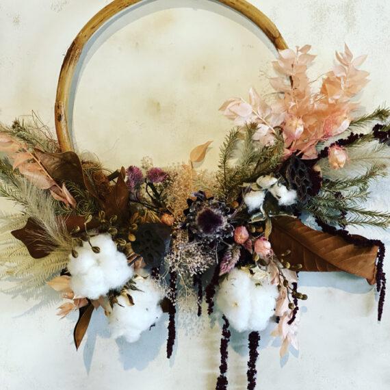 Everlasting floral wooden hoop