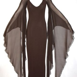 HALSTON Vintage Gown Brown Backless Halter Angel Sleeve Maxi Dress - AUTHENTIC