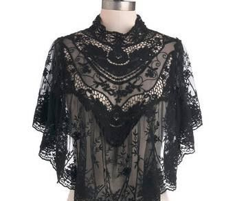 Victorian black lace cape poncho ~ LOVE & want! :-)