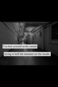 you hurt yourself on the outside trying to kill the monsters on the inside